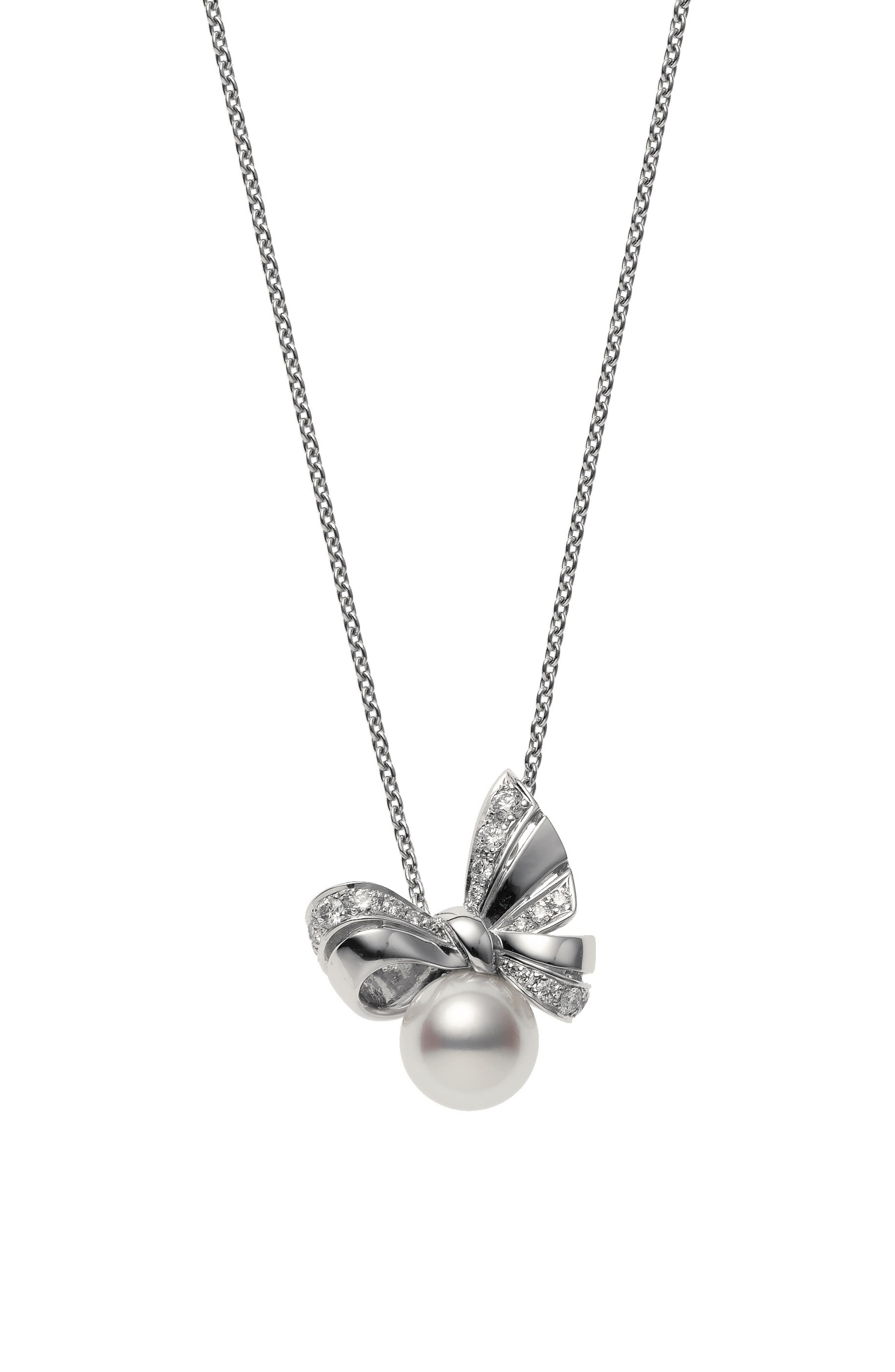 Ribbon Diamond & Pearl Pendant Necklace