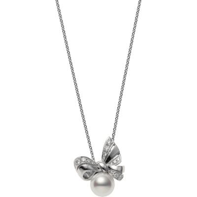 Mikimoto Ribbon Diamond & Pearl Pendant Necklace