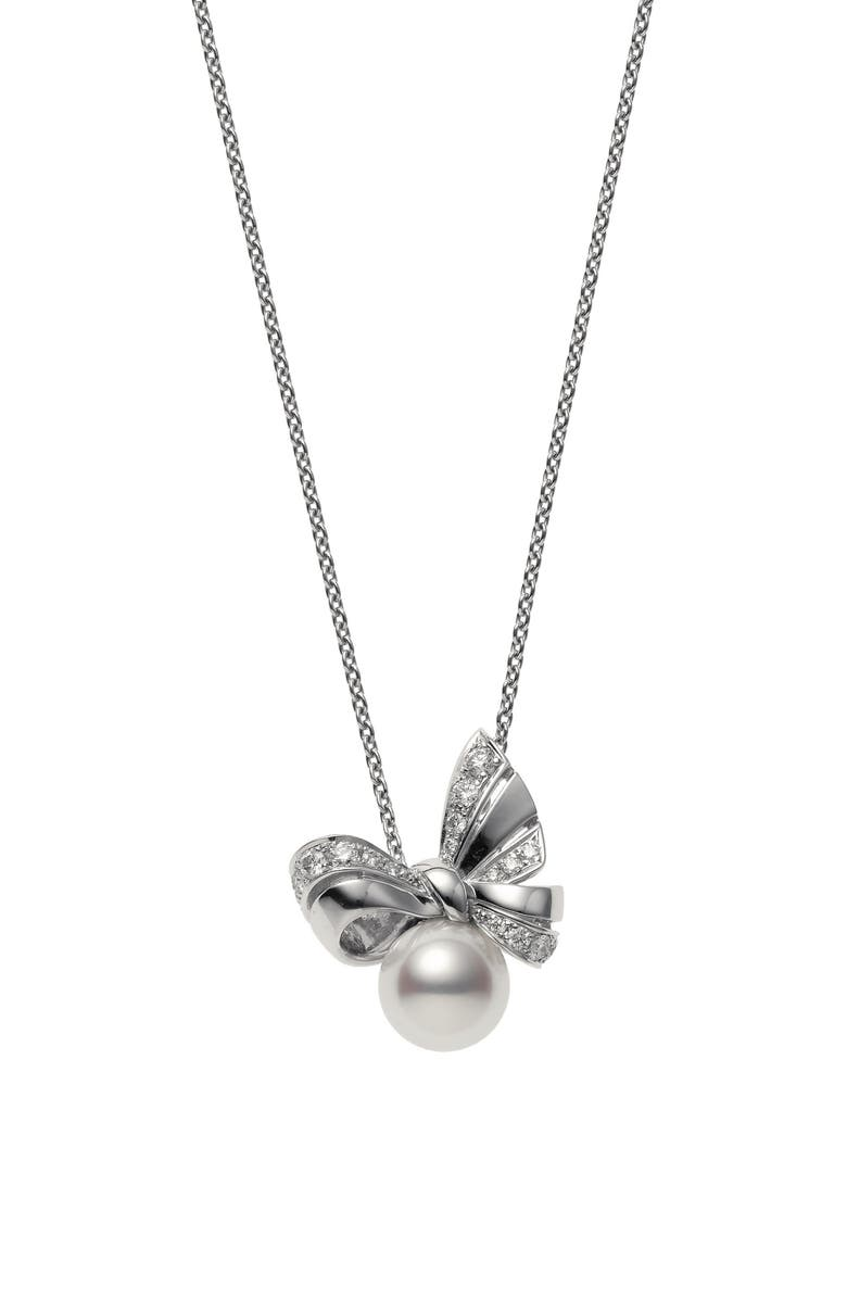 MIKIMOTO Ribbon Diamond & Pearl Pendant Necklace, Main, color, WHITE GOLD/ PEARL