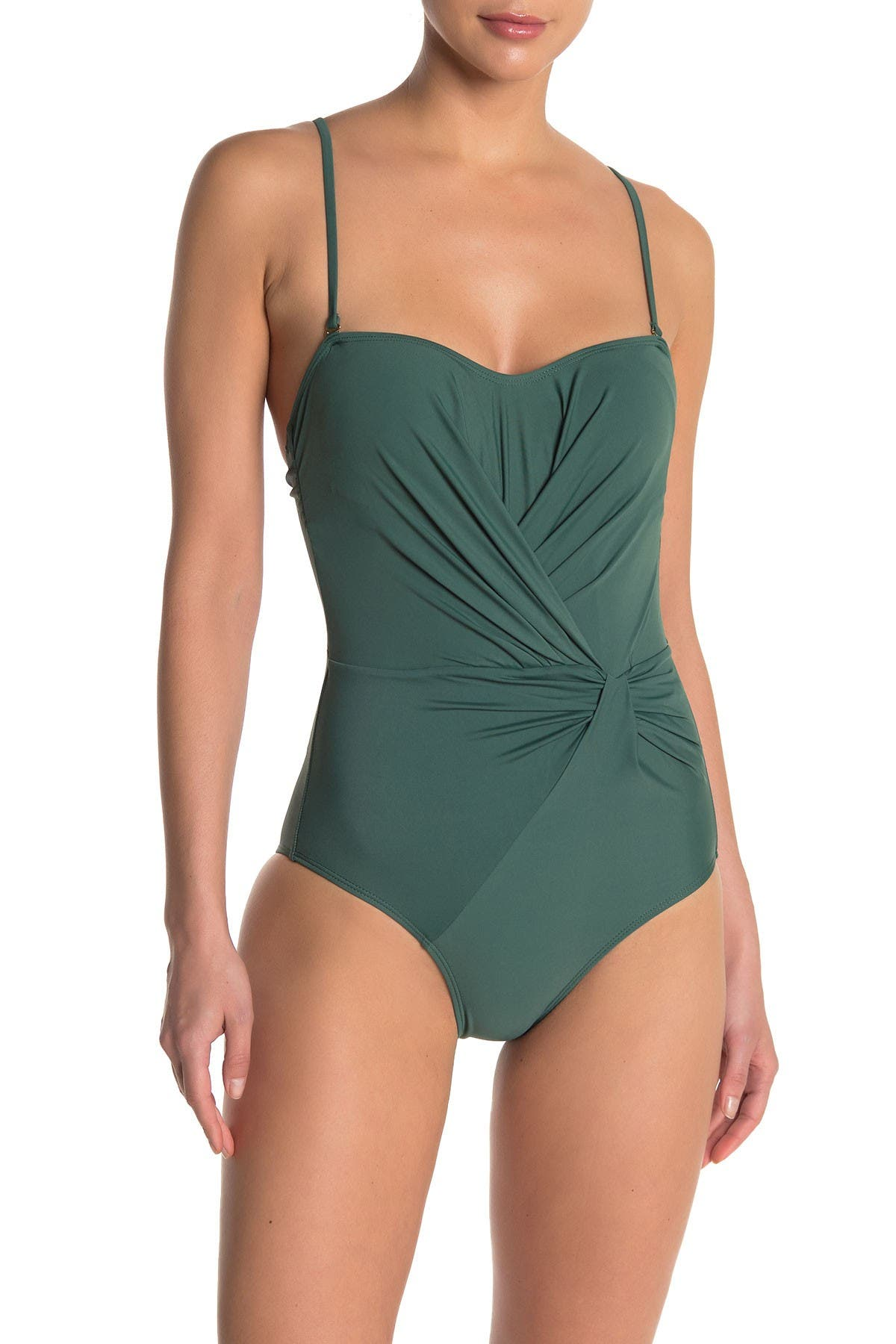 Image of Nicole Miller Twist Bandeau One-Piece Swimsuit