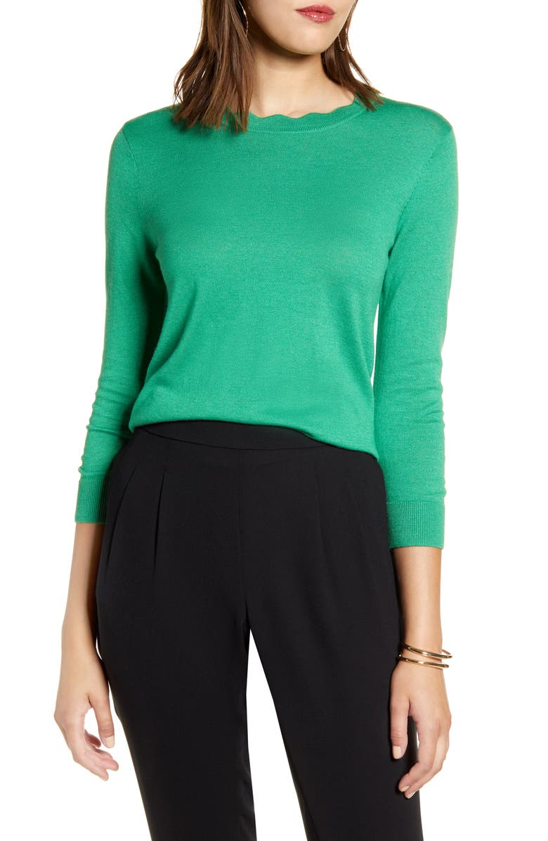 HALOGEN<SUP>®</SUP> Scallop Neck Sweater, Main, color, GREEN CLOVER