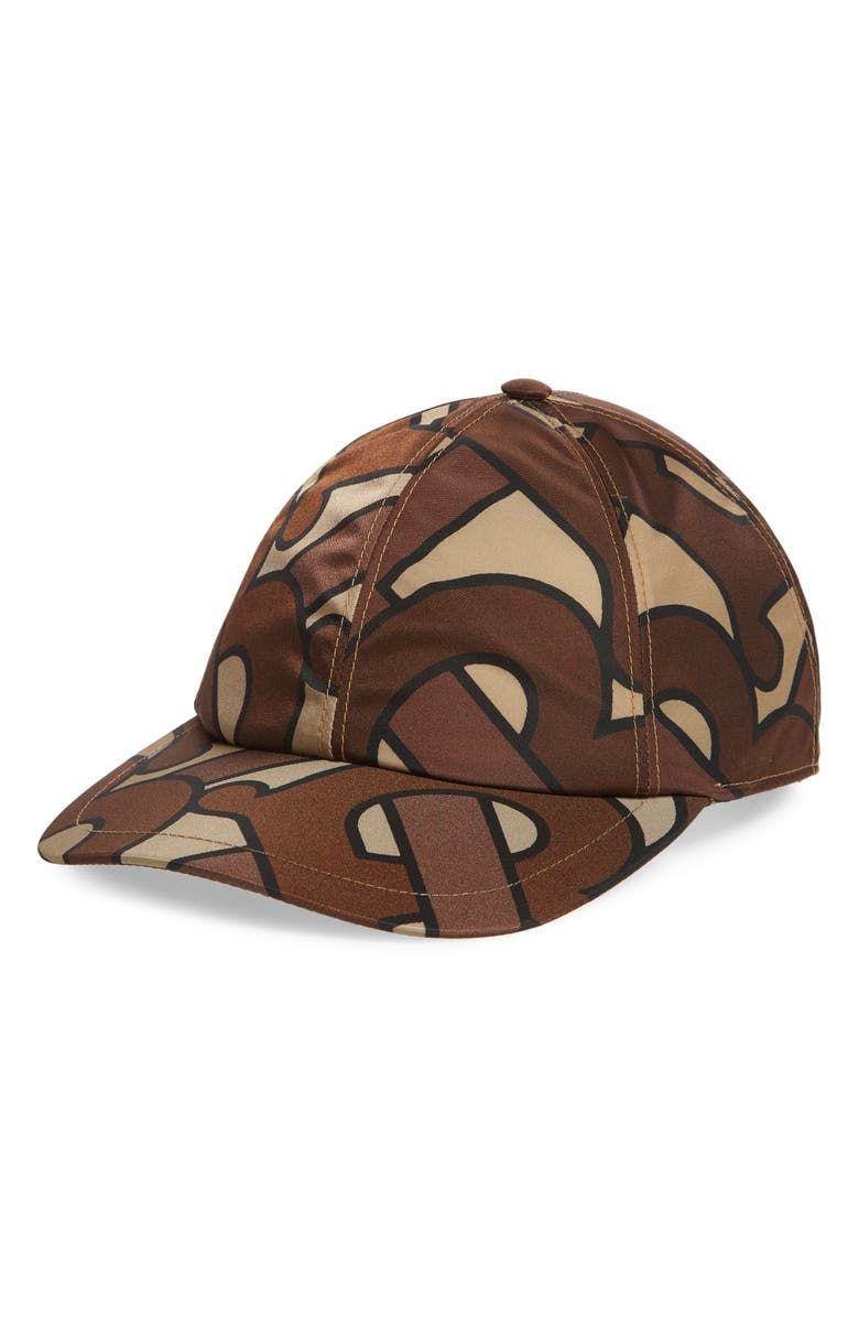 BURBERRY Exploded TB Snapback Baseball Cap, Main, color, BRIDLE BROWN