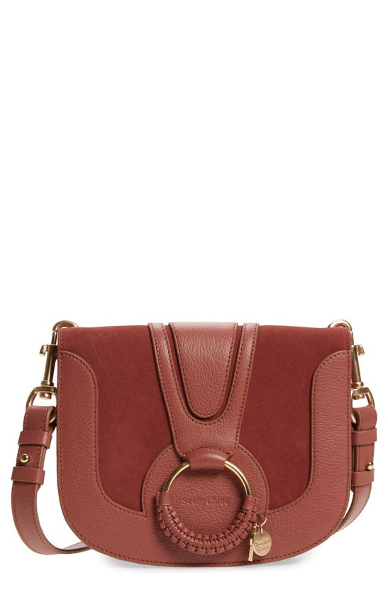 See By Chloé Hana Medium Leather And Suede Shoulder Bag In Fawn Brown