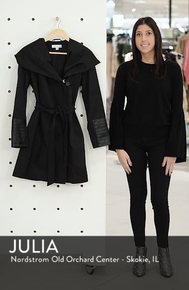 Faux Leather Trim Rain Jacket, sales video thumbnail
