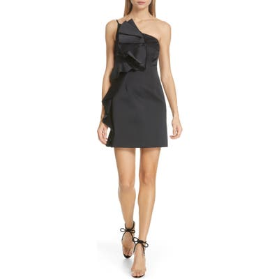 Amur Hallie Ruffle One-Shoulder Dress, Black