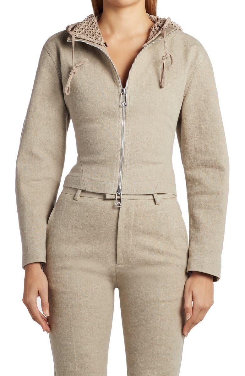 BOTTEGA VENETA Crop Stretch Linen Jacket, Main, color, NATURAL