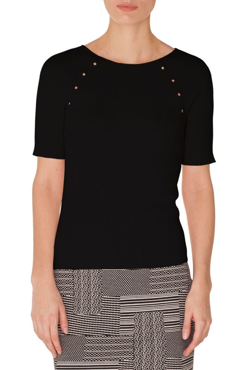AKRIS PUNTO Grommet Detail Knit Top, Main, color, BLACK