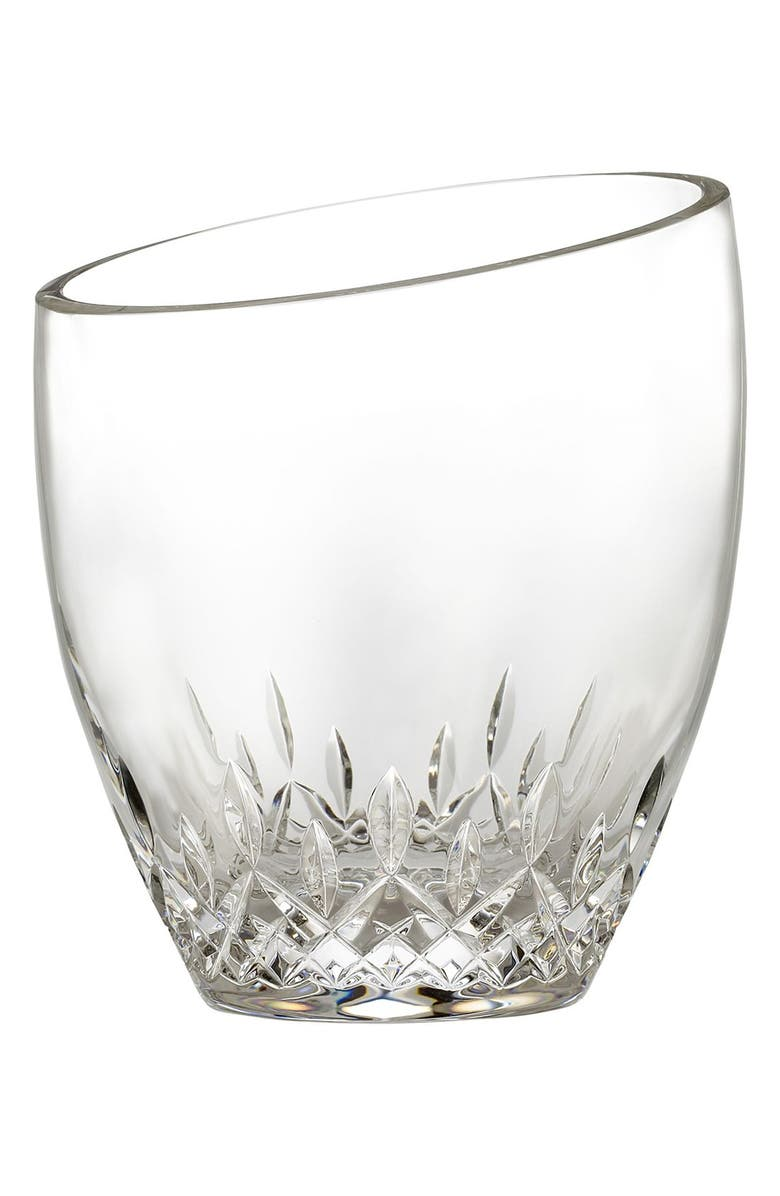 WATERFORD 'Lismore Essence' Lead Crystal Angled Top Ice Bucket & Tongs, Main, color, CLEAR