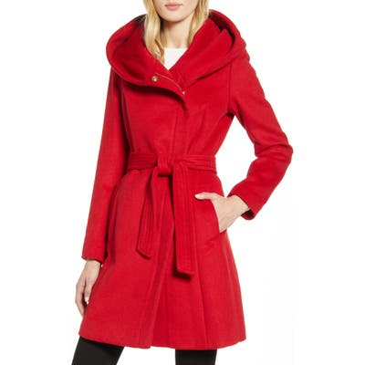 Cole Haan Belted Asymmetrical Wool Coat, Red
