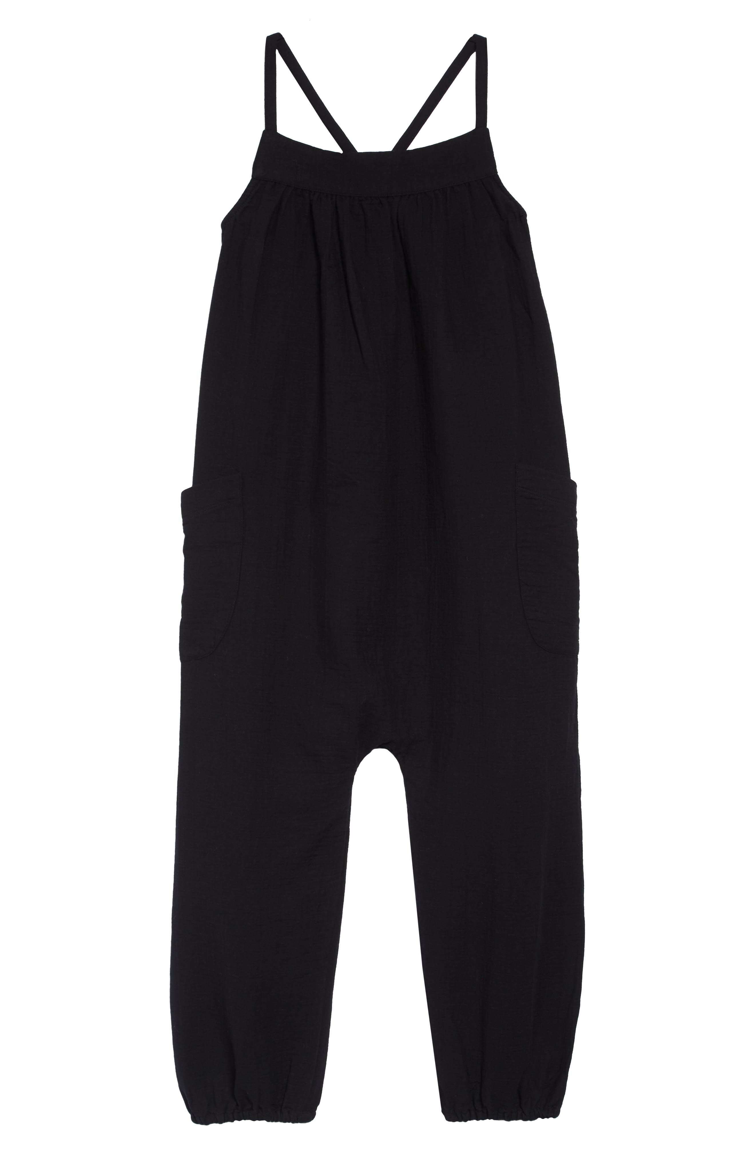 Cotton Jumpsuit, Main, color, BLACK