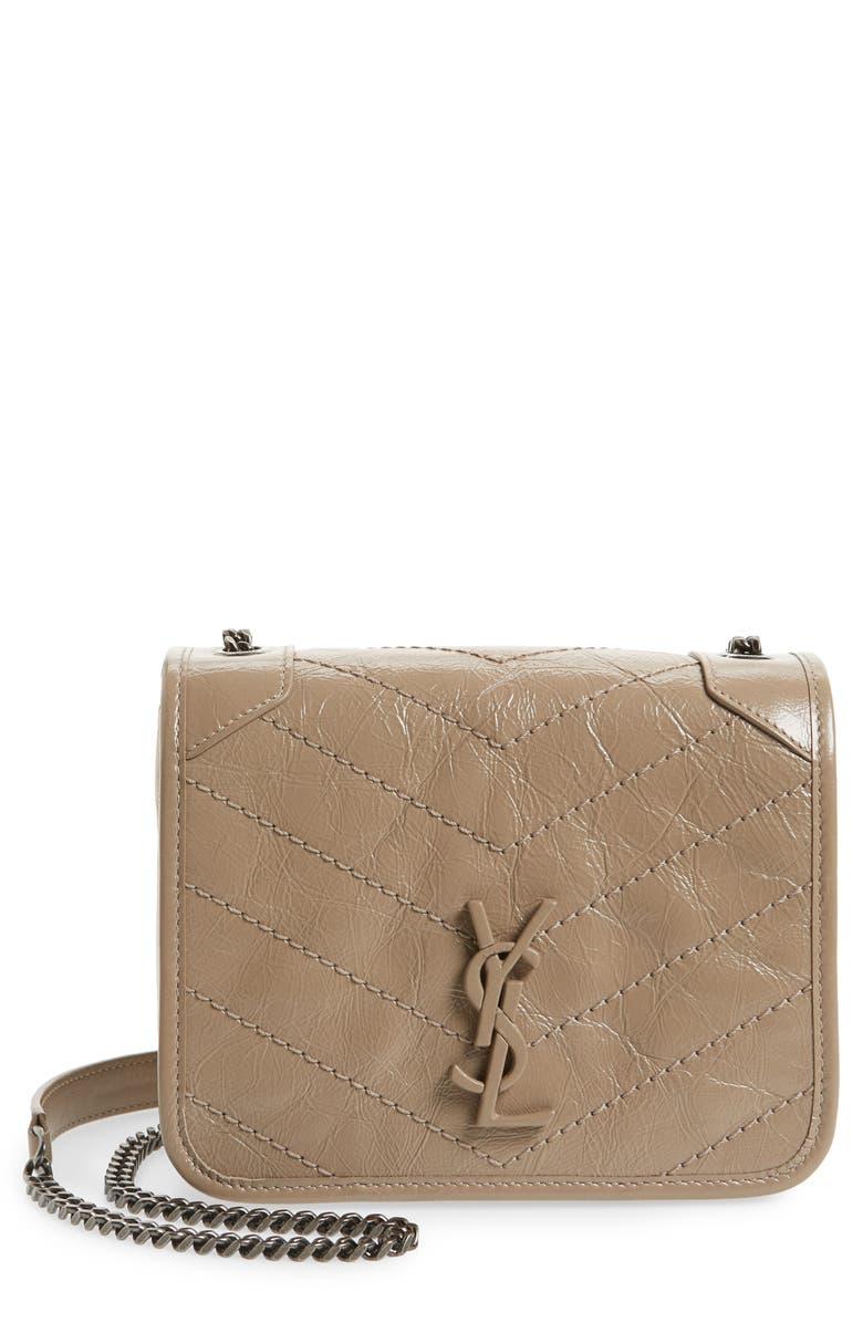 SAINT LAURENT Niki Leather Crossbody Bag, Main, color, DUSTY GREY