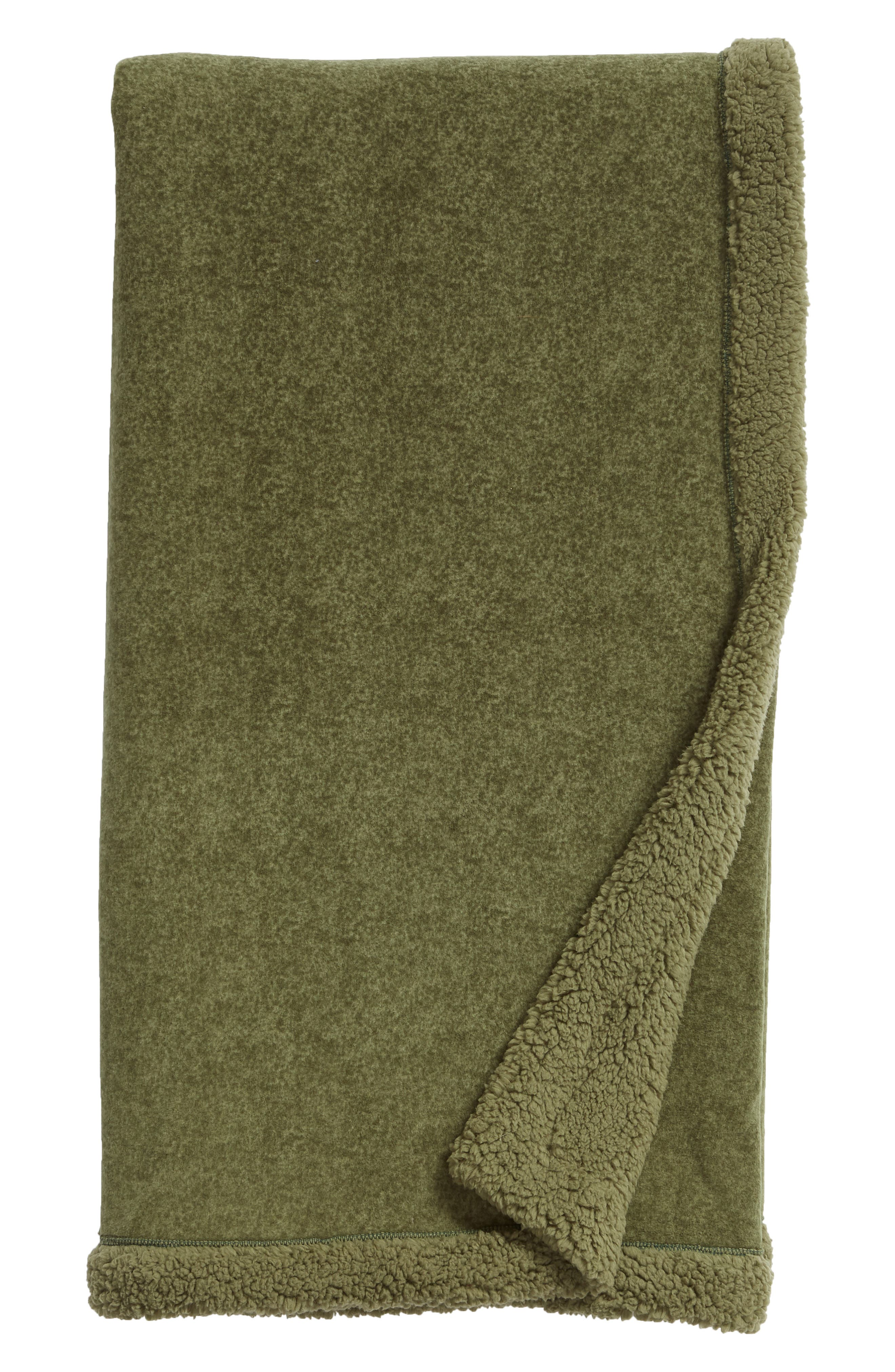 ,                             Faux Fur Throw,                             Main thumbnail 1, color,                             GREEN SORREL