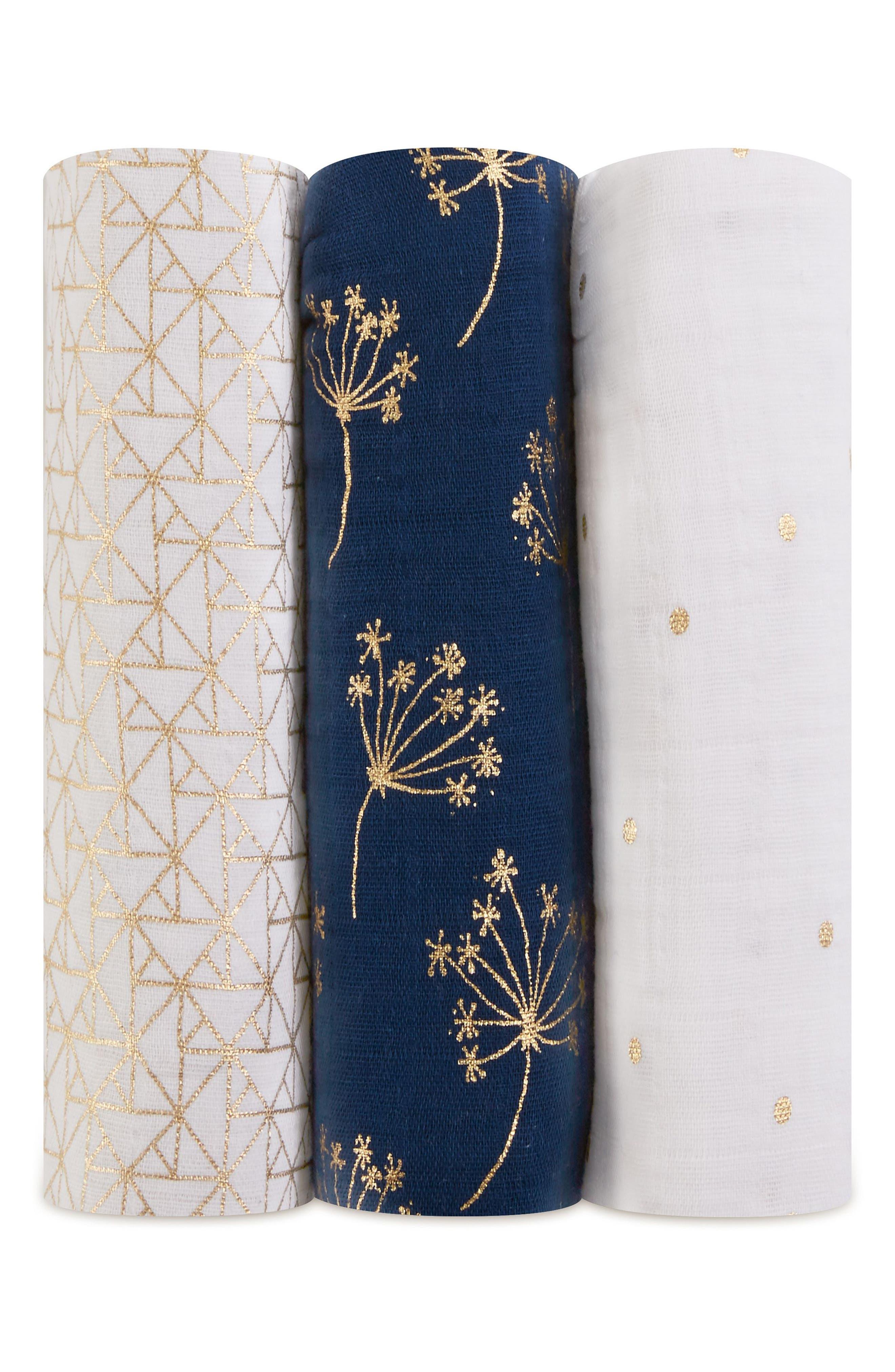 ,                             3-Pack Classic Swaddling Cloths,                             Main thumbnail 1, color,                             METALLIC GOLD DECO