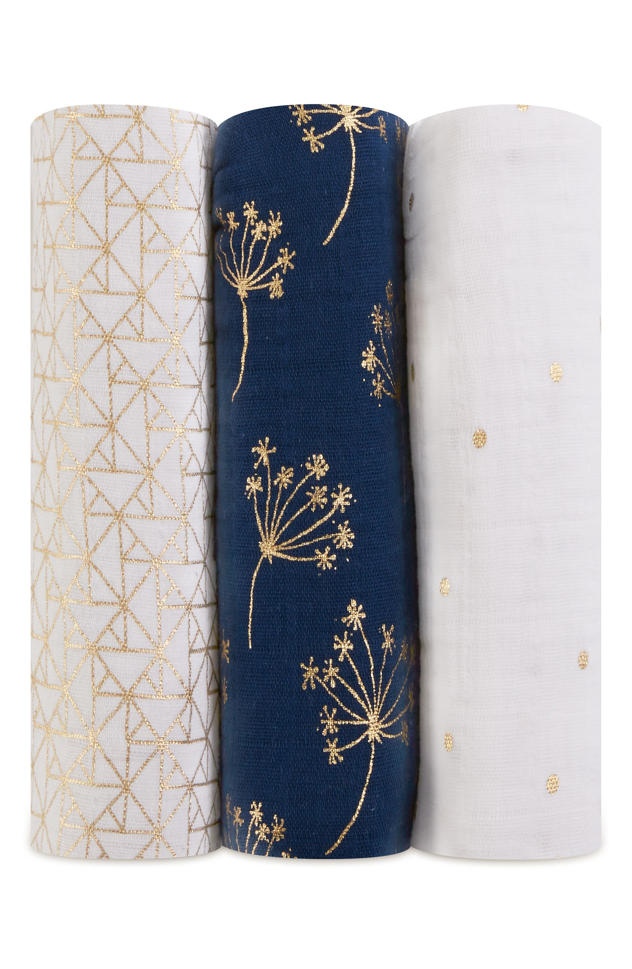 3-Pack Classic Swaddling Cloths, Main, color, METALLIC GOLD DECO