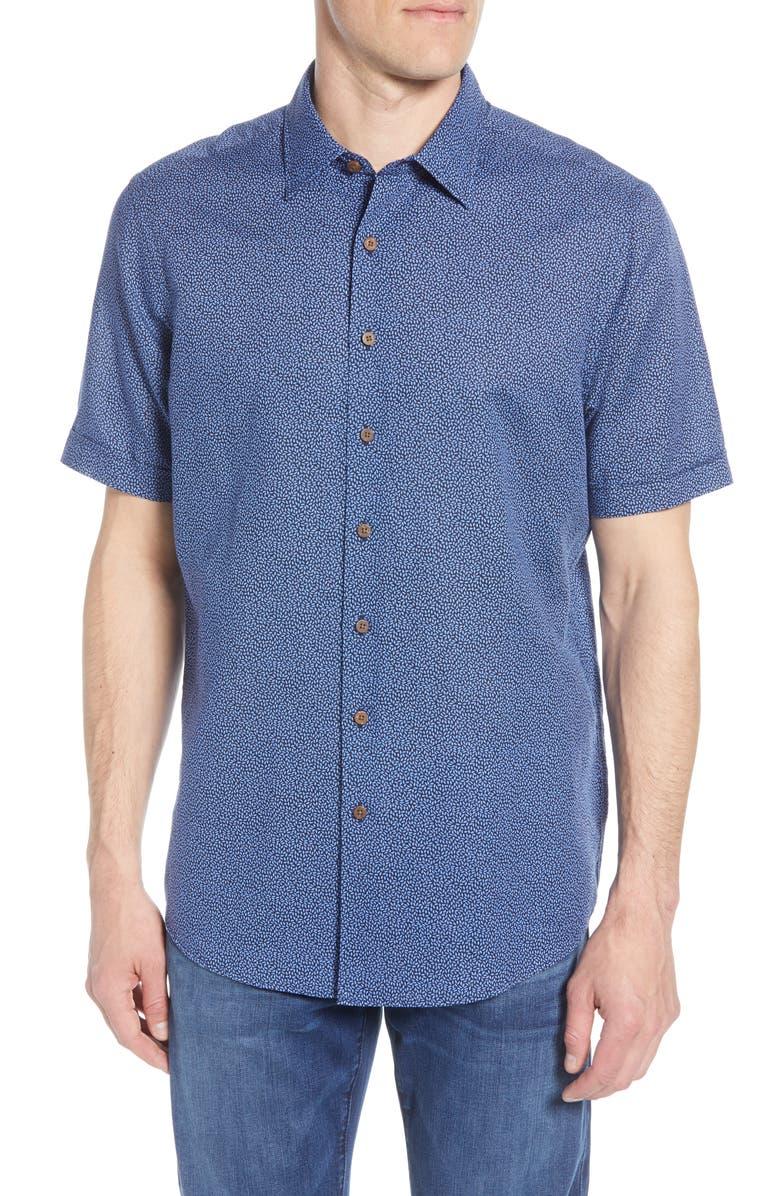 RODD & GUNN Murdoch Regular Fit Leaf Pattern Short Sleeve Linen Blend Button-Up Shirt, Main, color, MARINE
