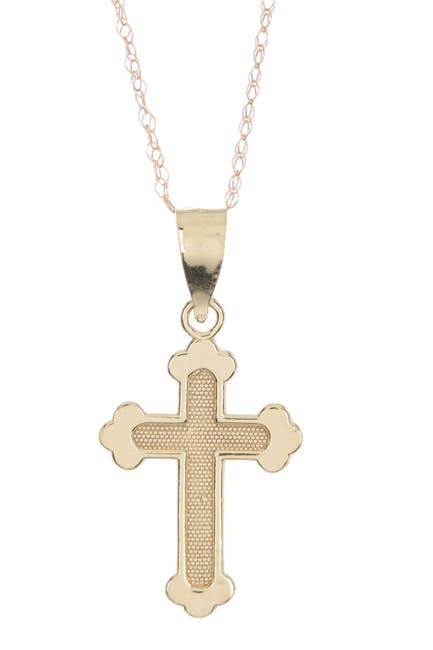 Image of Candela 10K Yellow Gold Textured Cross Pendant Necklace