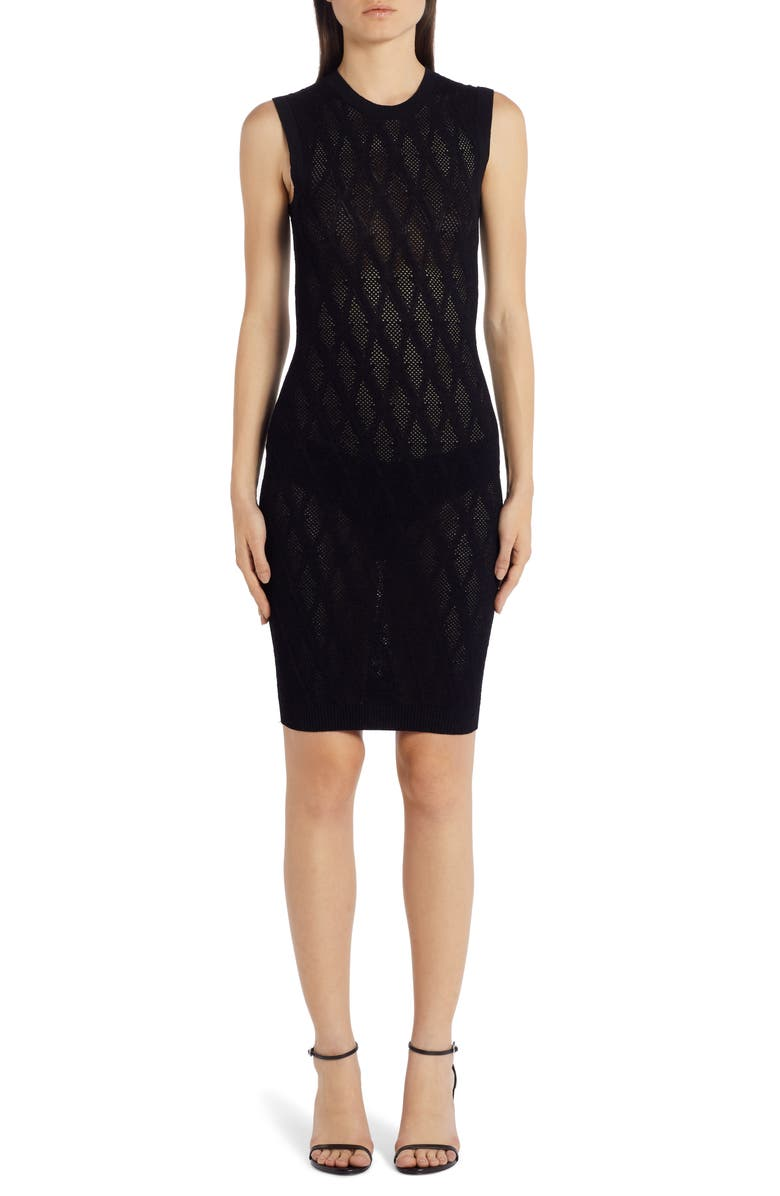 VERSACE V-Knit Body-Con Sweater Dress, Main, color, 001