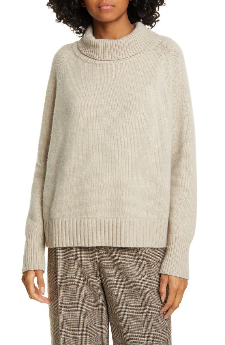 NILI LOTAN Lanie Cashmere Turtleneck Sweater, Main, color, STONE