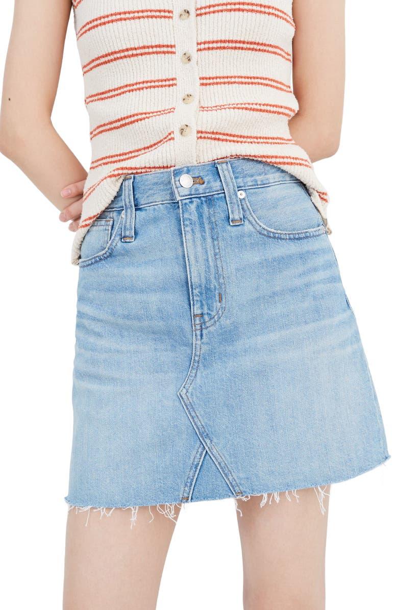 MADEWELL Denim A-Line Miniskirt, Main, color, LOVELL WASH