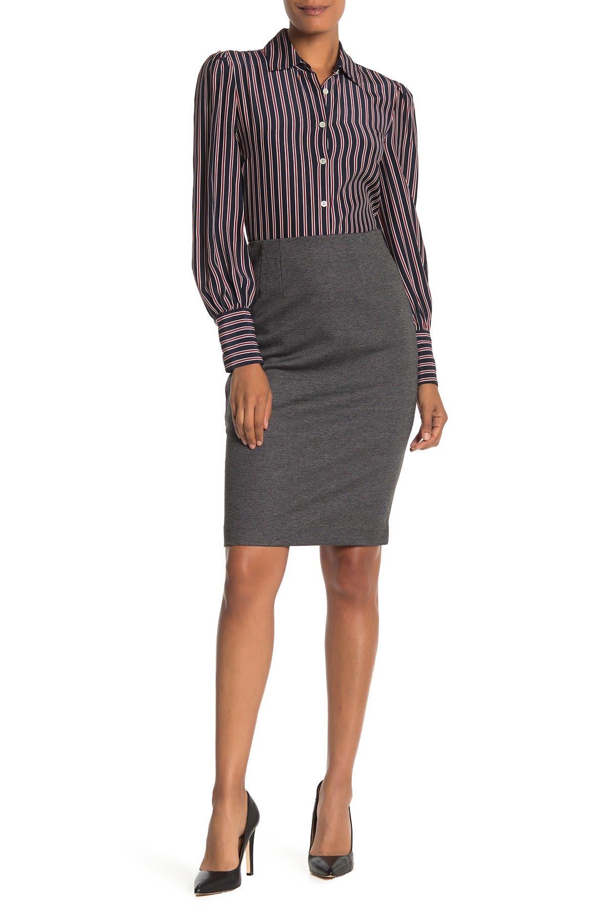 Image of Amanda & Chelsea Herringbone Pull-On Ponte Pencil Skirt