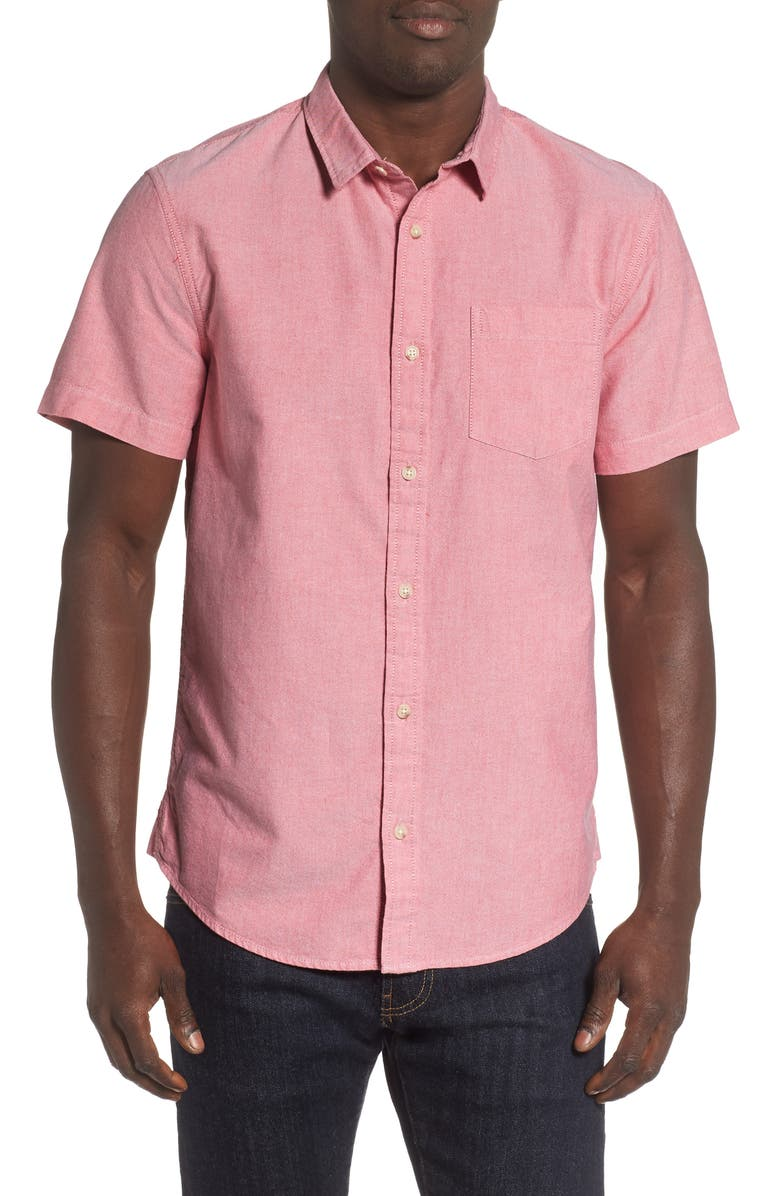 THE RAIL Oxford Cloth Woven Shirt, Main, color, RED SCARLET - WHITE