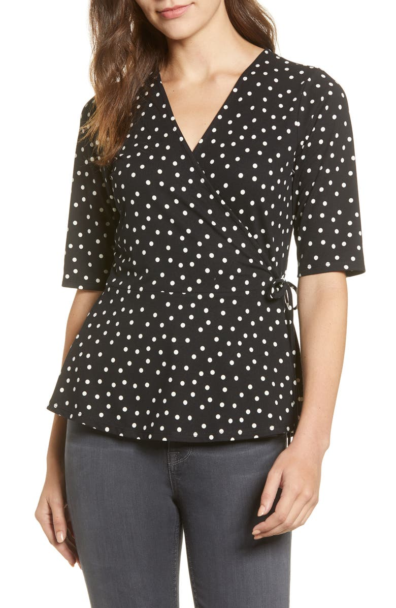 BOBEAU Printed Butter Wrap Top, Main, color, BLACK IVORY DOT