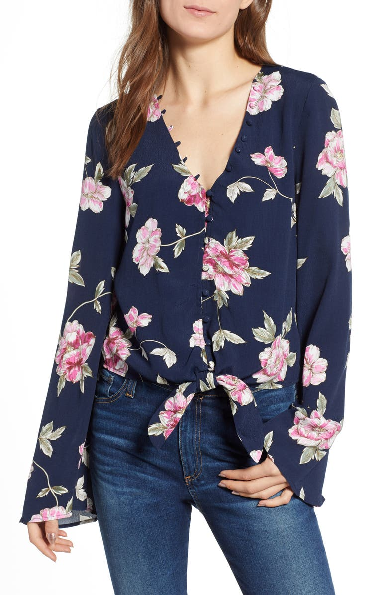 CUPCAKES AND CASHMERE Jerome Floral Bell Sleeve Top, Main, color, 401