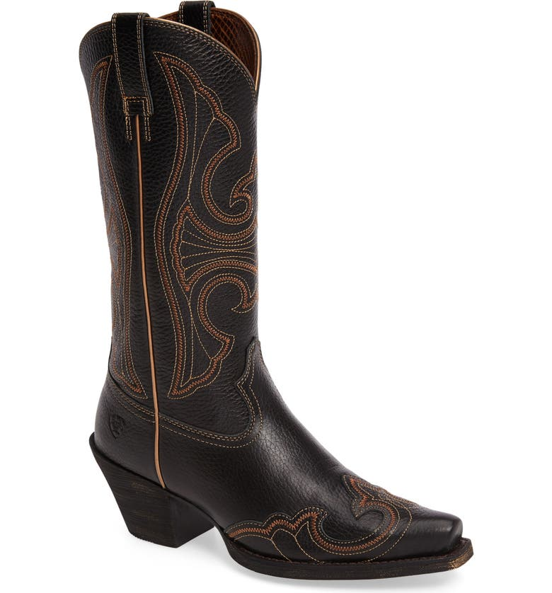 ARIAT Round Up D-Toe Wingtip Western Boot, Main, color, 001