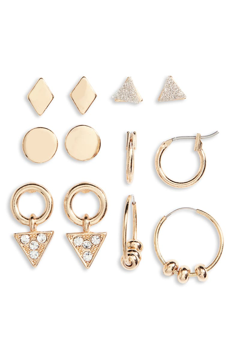 BP. Set of 6 Geometric Earrings, Main, color, 710