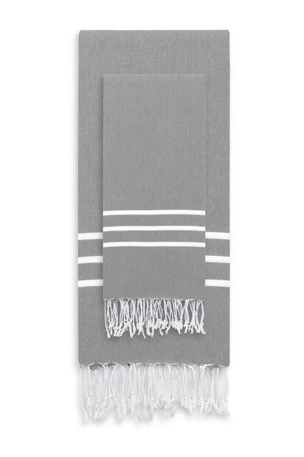 Image of LINUM HOME Alara Turkish Pestemal Beach Towel 2-Piece Set - Grey / White Stripes