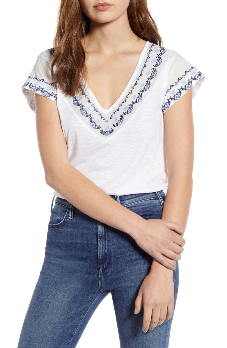 CASLON<SUP>®</SUP> Embroidered Neck Short Sleeve Cotton Blend Top, Main, color, IVORY- BLUE WINDMILL EMB
