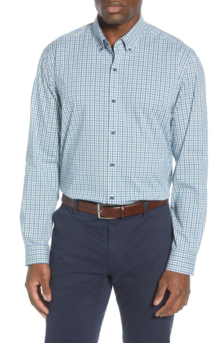 CUTTER & BUCK Soar Classic Fit Mini Check Button-Down Performance Shirt, Main, color, INDIGO