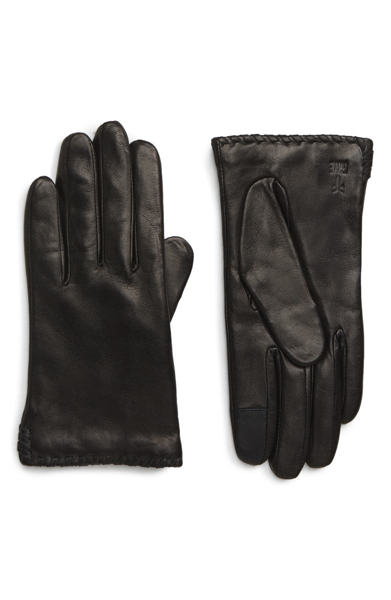 FRYE Nora Whipstitch Lambskin Leather Touchscreen Gloves, Main, color, 001