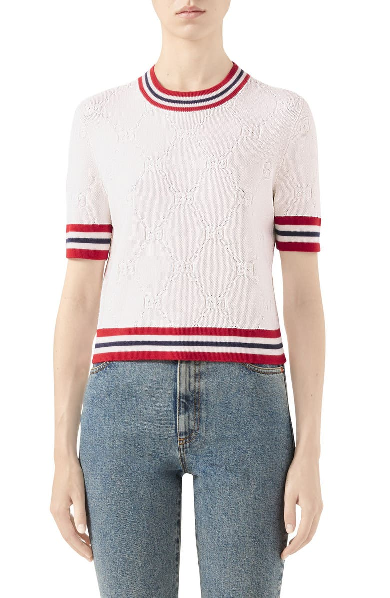 GUCCI GG Logo Embossed Sweater, Main, color, IVORY/ RED