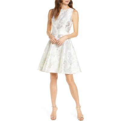 Mark + James By Badgley Mischka Metallic Floral Brocade Fit & Flare Dress, Metallic