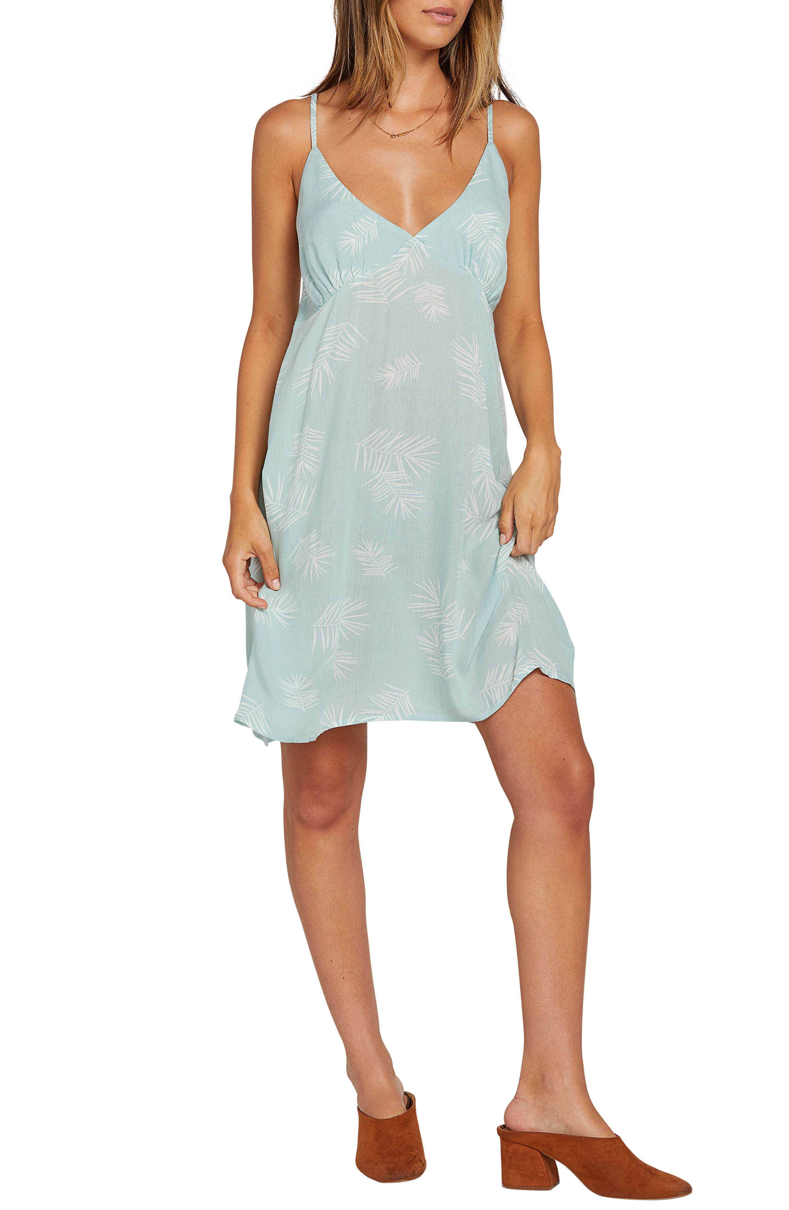 Volcom Now Or Now Cherry Print Tank Minidress, Blue