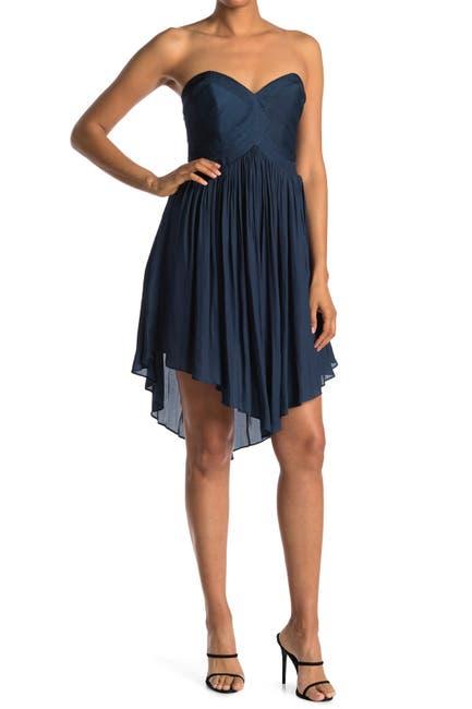 Image of HALSTON Strapless Pleated Dress