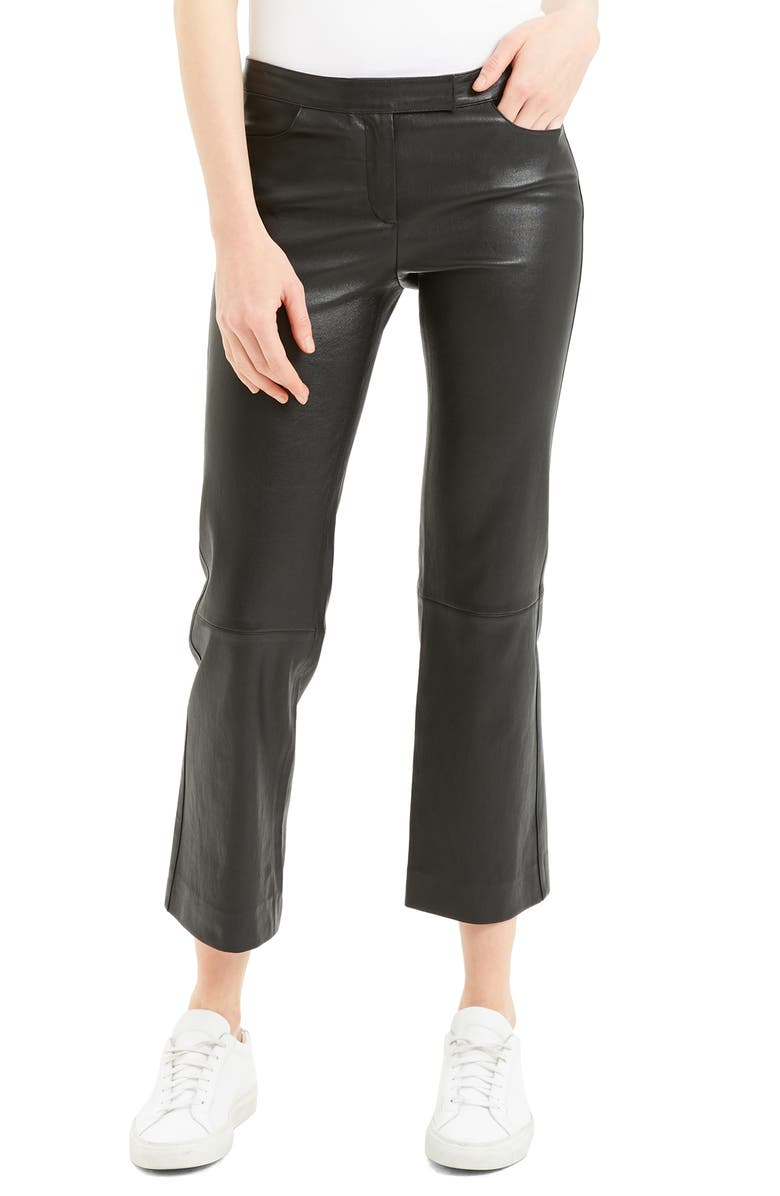 THEORY Bristol Crop Leather Pants, Main, color, BLACK