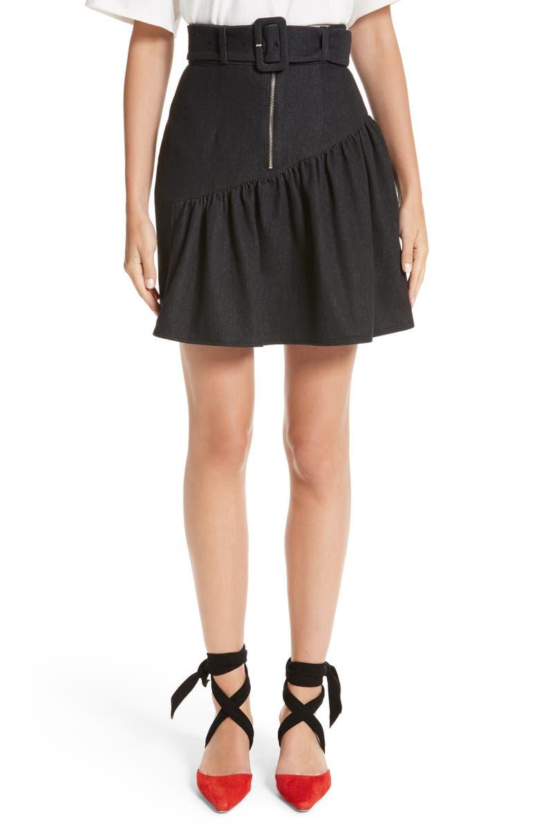 REJINA PYO Belted Ruffle Denim Miniskirt, Main, color, 010