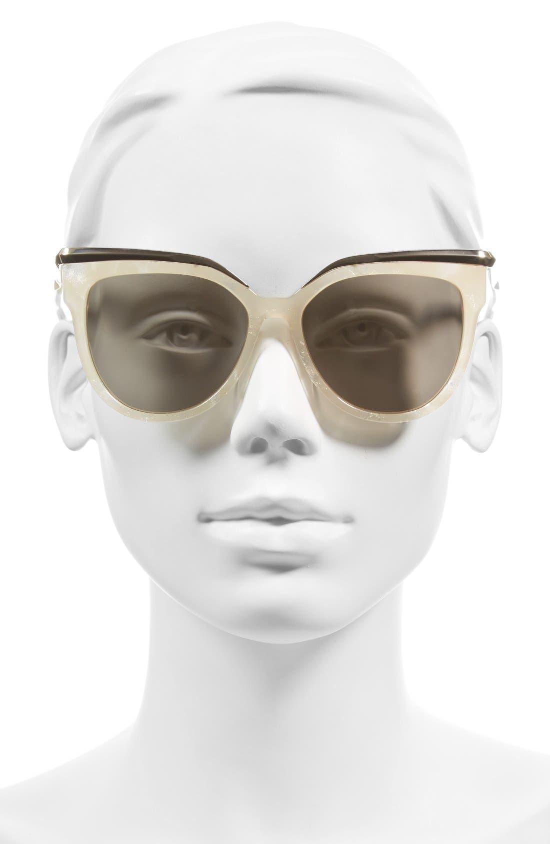 ,                             56mm Cat Eye Sunglasses,                             Alternate thumbnail 2, color,                             SPARKLY IVORY