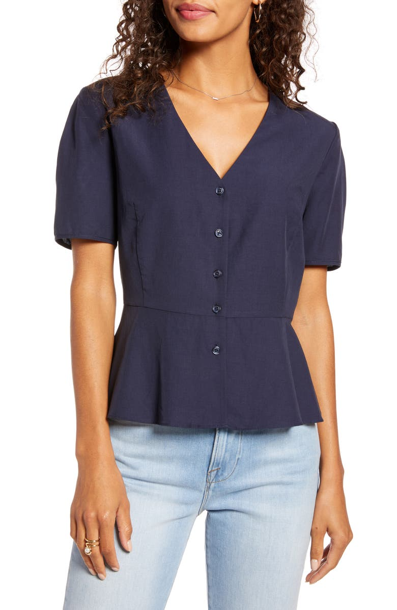 1901 Button Front Peplum Blouse, Main, color, NAVY NIGHT