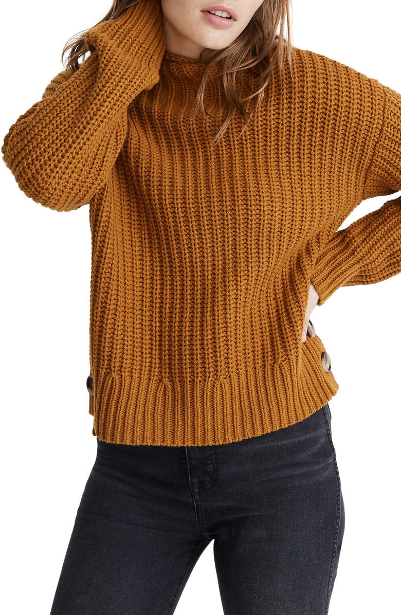 Mock Neck Side Button Pullover Sweater by Madewell