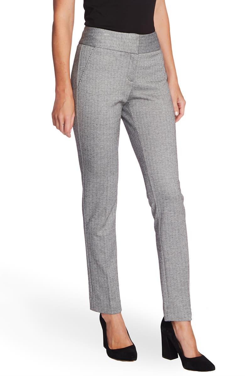 VINCE CAMUTO Herringbone Ankle Pants, Main, color, RICH BLACK