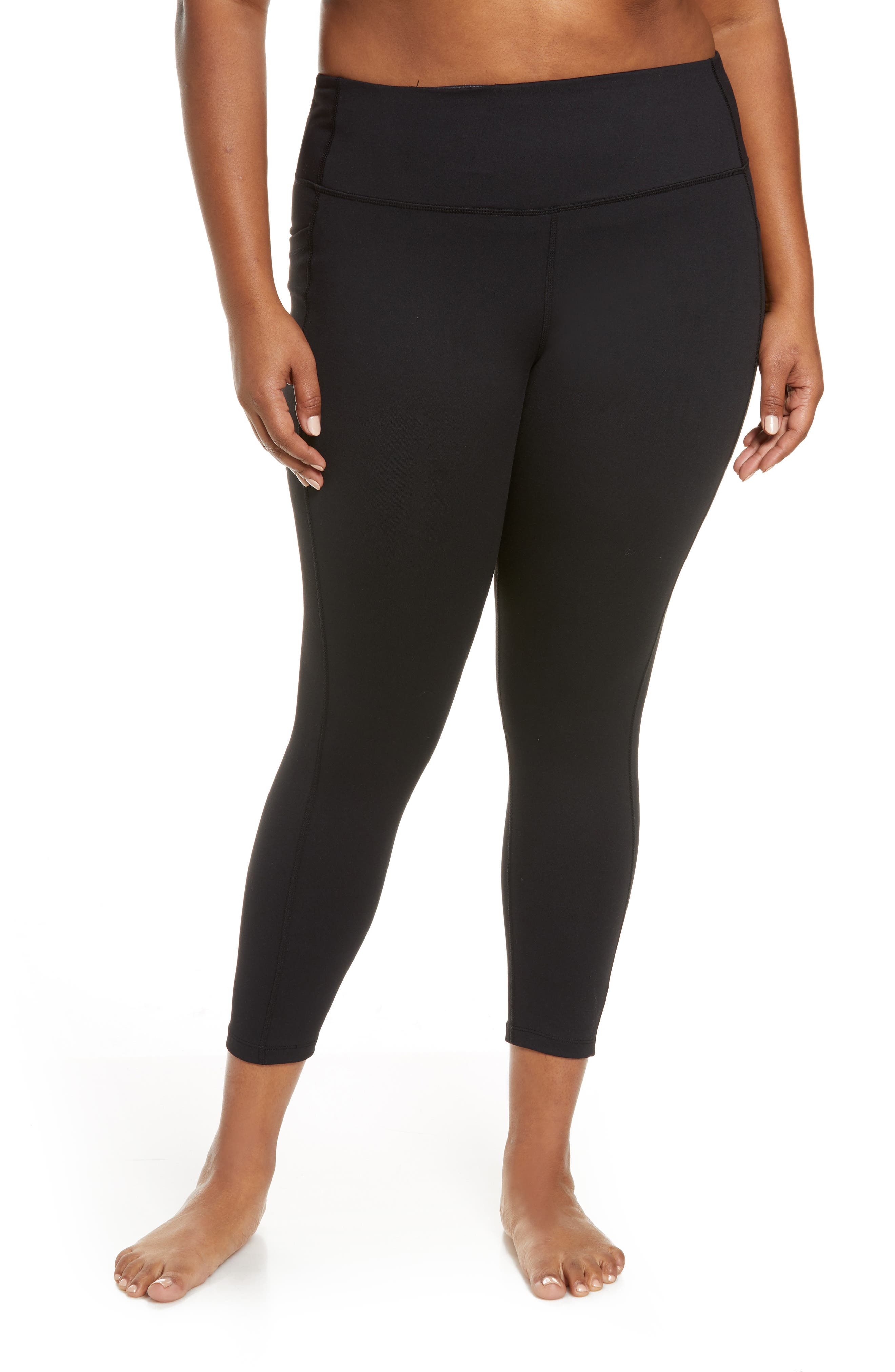 These go-to ankle-length leggings support muscles, smooth curves and optimize your range of motion. The stretch fabric wicks away moisture to keep you cool and comfortable during intense workouts, while handy side pockets stash your phone so you never forget it on equipment. Style Name: Zella High Waist Live In Pocket 7/8 Leggings (Plus Size). Style Number: 6082797. Available in stores.