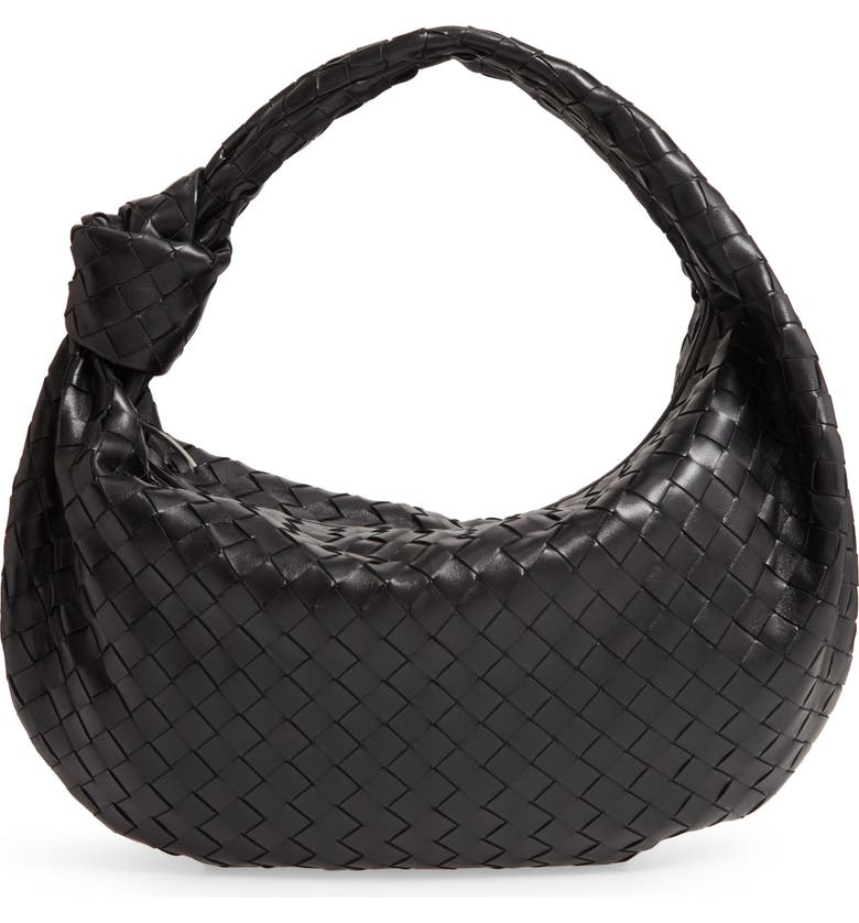 BOTTEGA VENETA Intrecciato Leather Hobo Bag, Main, color, NERO/ SILVER