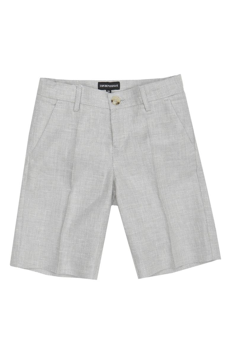 ARMANI JUNIOR Pleated Linen Shorts, Main, color, GRIGIO CHIARO
