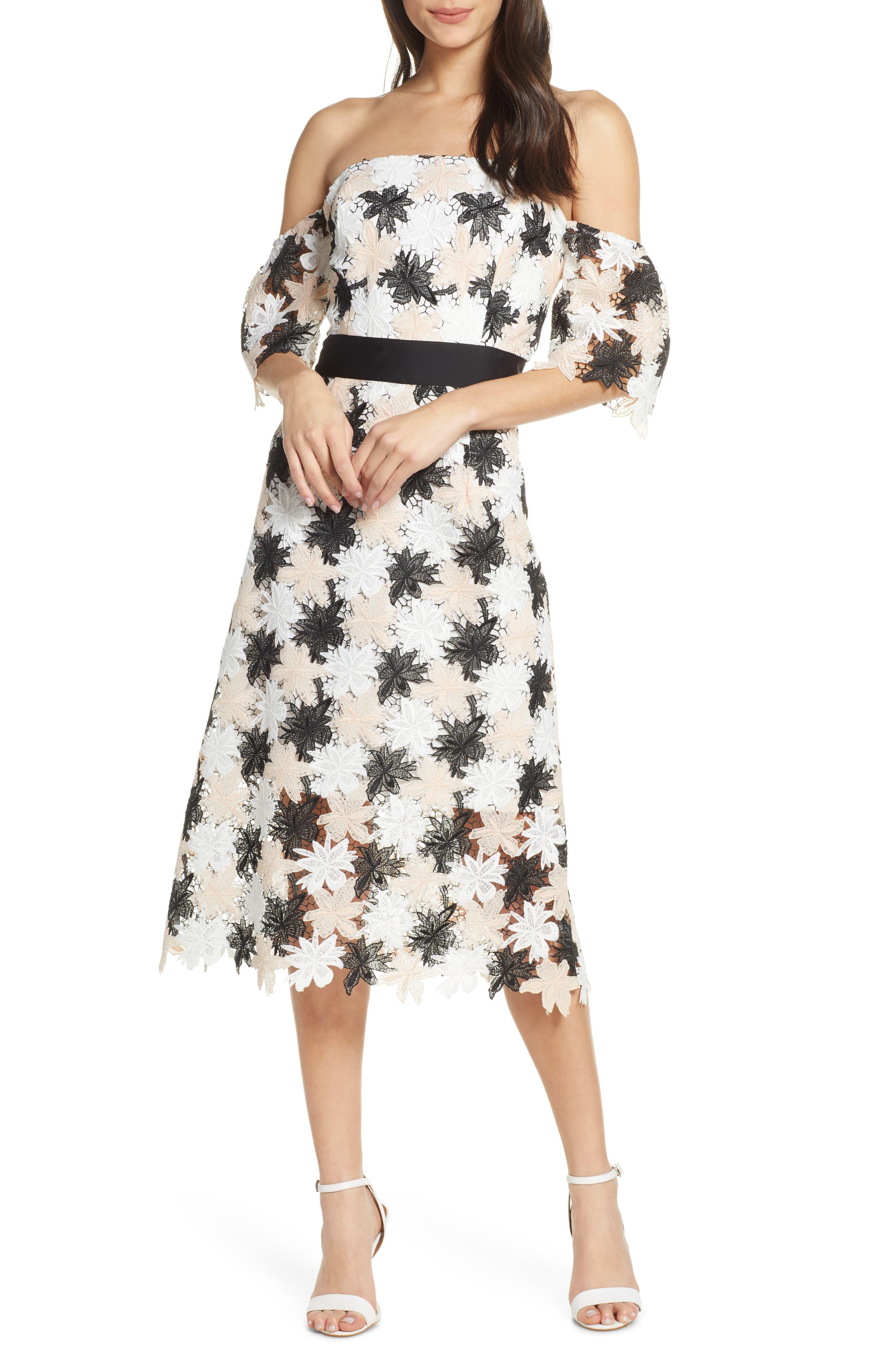 Sam Edelman Off The Shoulder Tricolor Lace Dress, White