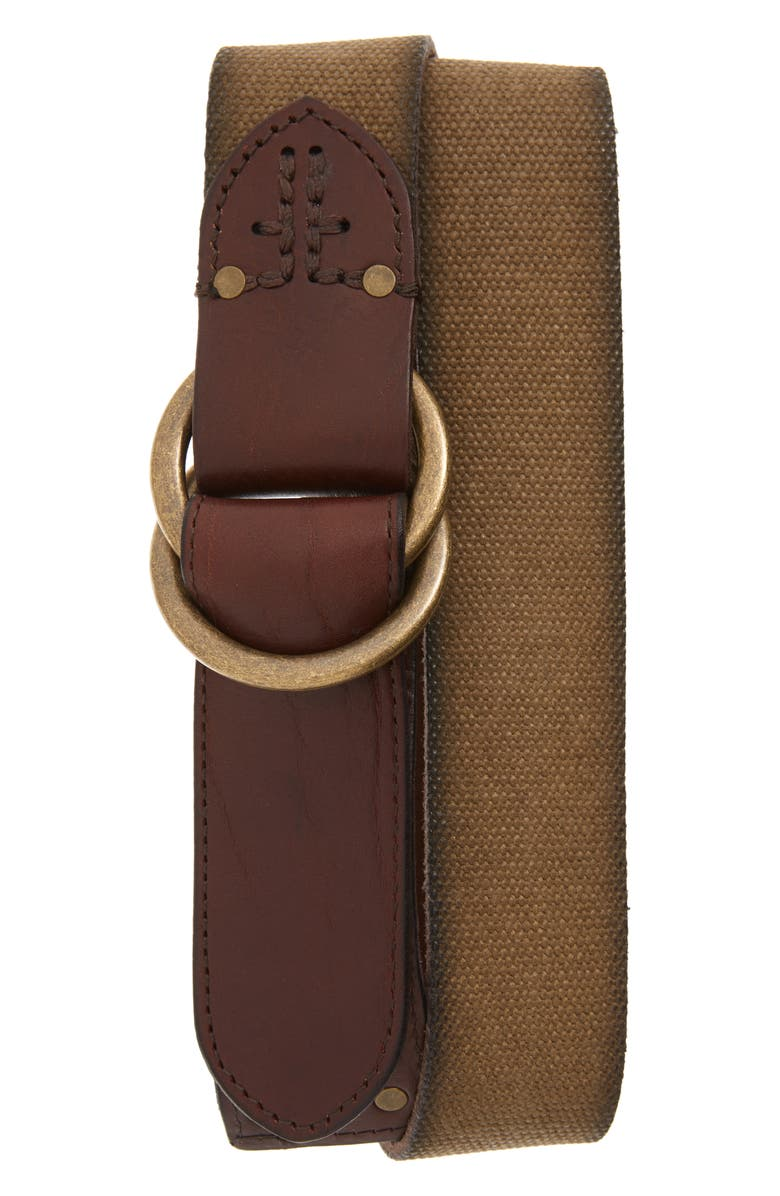 FRYE Canvas O-Ring Belt, Main, color, MUSTARD