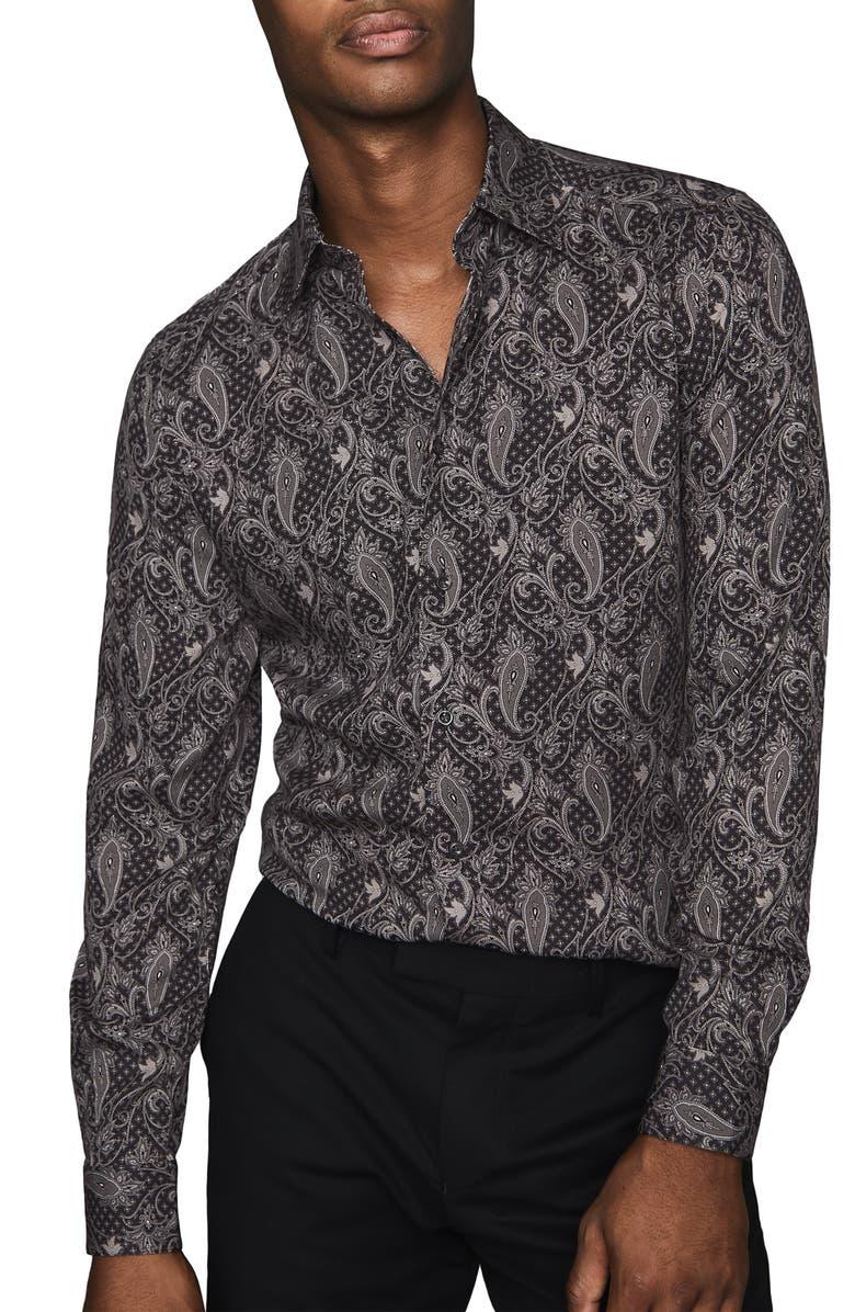 REISS Tace Slim Fit Paisley Button-Up Shirt, Main, color, 001