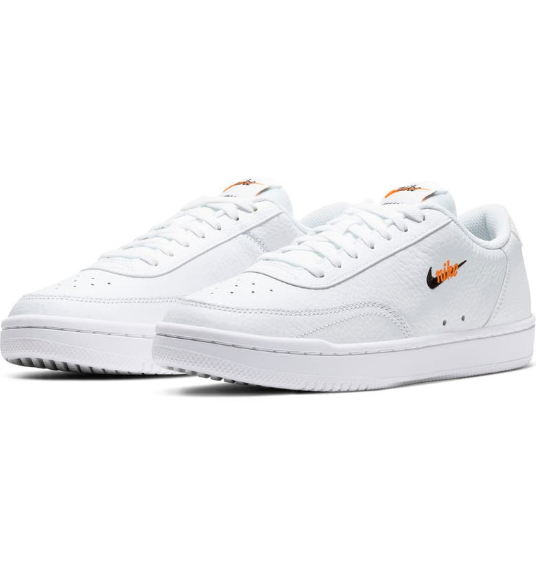 NIKE Court Vintage Premium Sneaker, Main, color, WHITE/ BLACK/ TOTAL ORANGE